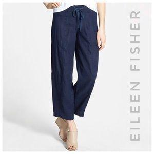 EILEEN FISHER organic linen navy pants